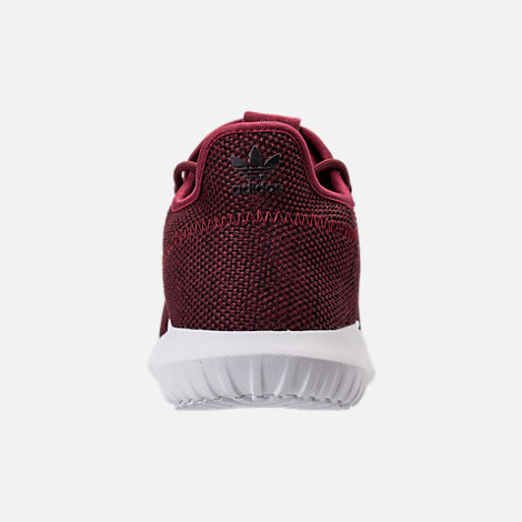 Back view of Men's adidas Tubular Shadow 3D Knit Casual Shoes in Collegiate Burgundy/Core Black/White
