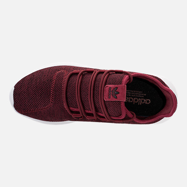 Top view of Men's adidas Tubular Shadow 3D Knit Casual Shoes in Collegiate Burgundy/Core Black/White