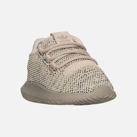 Three Quarter view of Boys' Toddler adidas Originals Tubular Shadow Knit Casual Shoes in Trace Brown/Vintage White