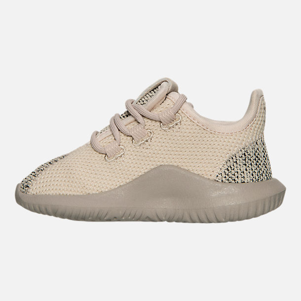 Left view of Boys' Toddler adidas Originals Tubular Shadow Knit Casual Shoes in Trace Brown/Vintage White