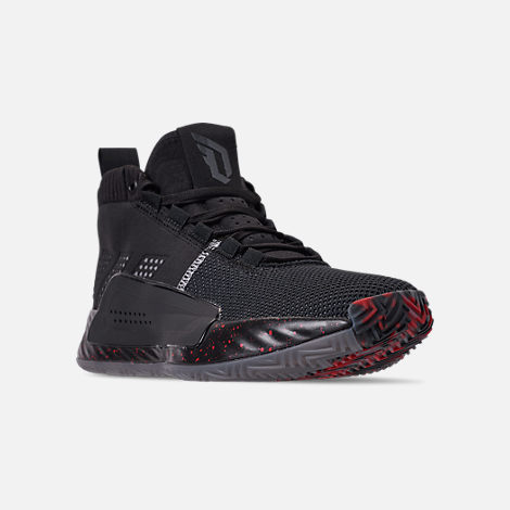 cheaper c7b7a 1371f Three Quarter view of Mens adidas Dame 5 Basketball Shoes in Core BlackGrey  Three