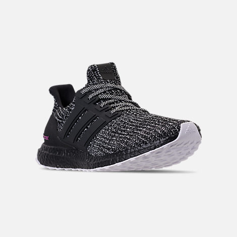 Three Quarter view of Men's adidas UltraBOOST BCA Running Shoes in Cloud White/Core Black/Shock Pink