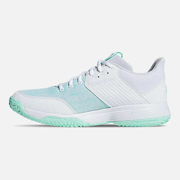 20bf606eab1 Left view of Women s adidas Ligra 6 Volleyball Shoes in Cloud White Cloud  White