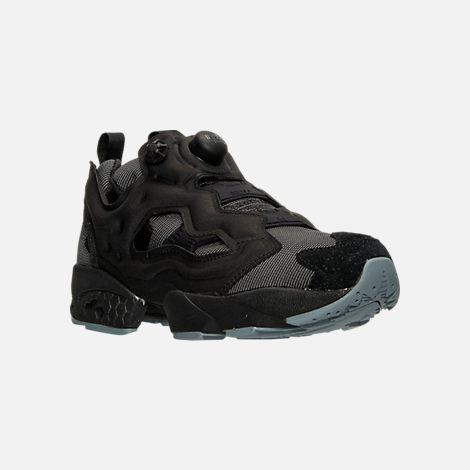 Three Quarter view of Men's Reebok Insta Pump Casual Shoes in Black/Fire Spark/Stonewash