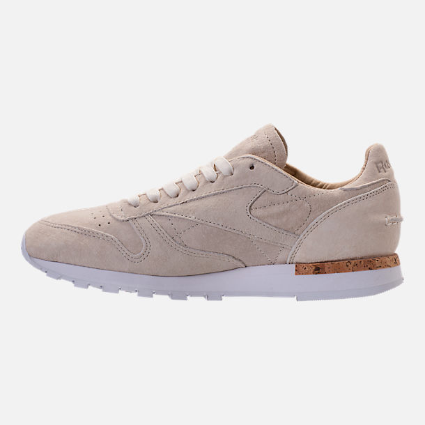 Left view of Men's Reebok Classic Leather LST Casual Shoes in Classic White/Paper White/White