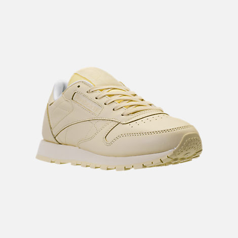 Three Quarter view of Women's Reebok Classic Leather Casual Shoes in Washed Yellow