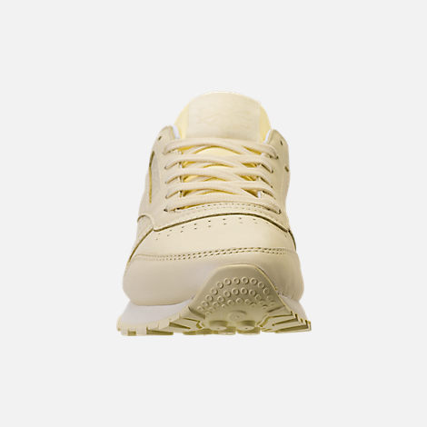 Front view of Women's Reebok Classic Leather Casual Shoes in Washed Yellow