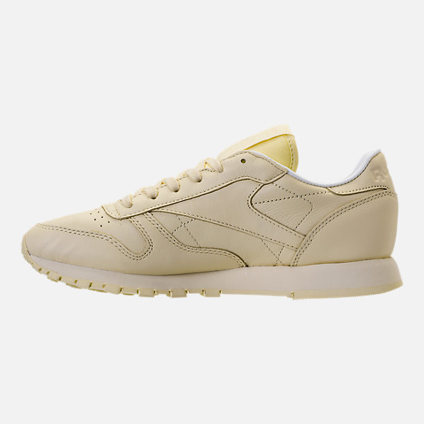 Left view of Women's Reebok Classic Leather Casual Shoes in Washed Yellow