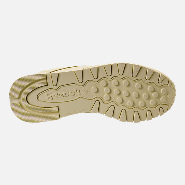 Bottom view of Women's Reebok Classic Leather Casual Shoes in Washed Yellow