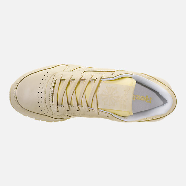 Top view of Women's Reebok Classic Leather Casual Shoes in Washed Yellow