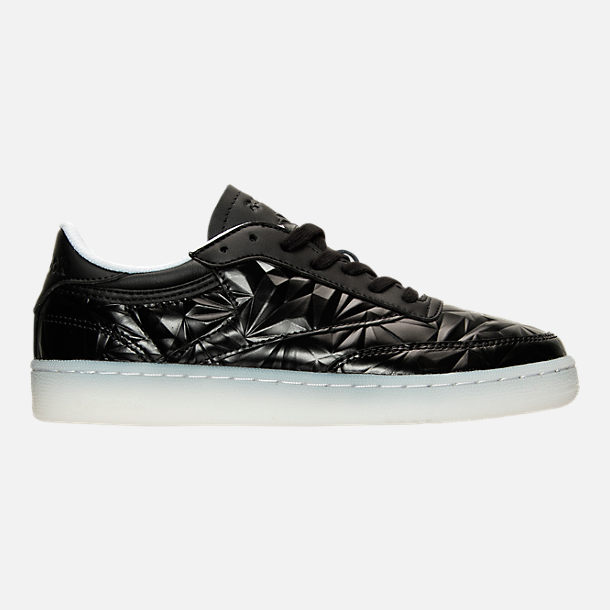 Right view of Women's Reebok Club C Hype Metallic Casual Shoes in Black/White