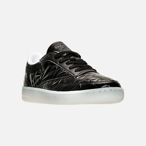 Three Quarter view of Women's Reebok Club C Hype Metallic Casual Shoes in Black/White