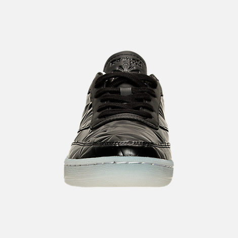 Front view of Women's Reebok Club C Hype Metallic Casual Shoes in Black/White