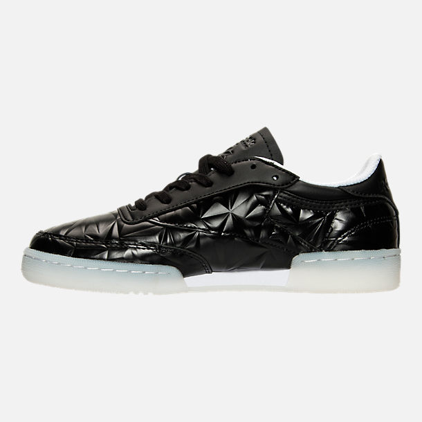 Left view of Women's Reebok Club C Hype Metallic Casual Shoes in Black/White