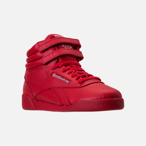 Three Quarter view of Girls' Grade School Reebok Freestyle Hi Casual Shoes in Excellent Red/Silver/Gold