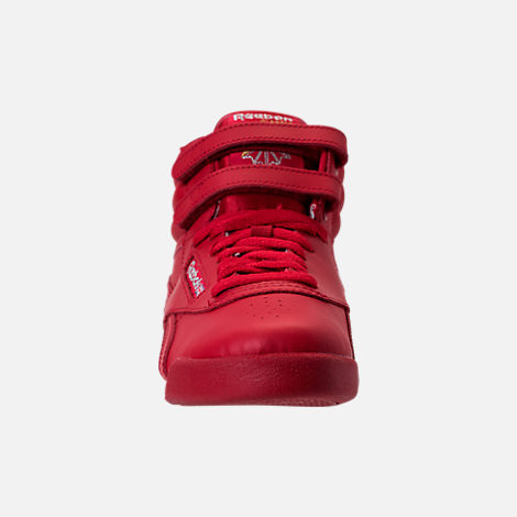 Front view of Girls' Grade School Reebok Freestyle Hi Casual Shoes in Excellent Red/Silver/Gold
