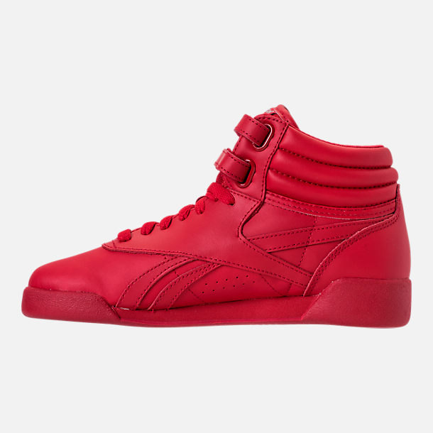 Left view of Girls' Grade School Reebok Freestyle Hi Casual Shoes in Excellent Red/Silver/Gold