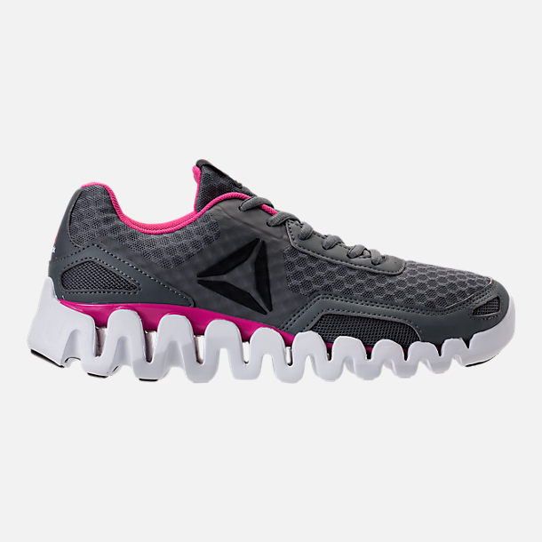 Right view of Women's Reebok Zig Evolution Running Shoes in Grey/Pink/White