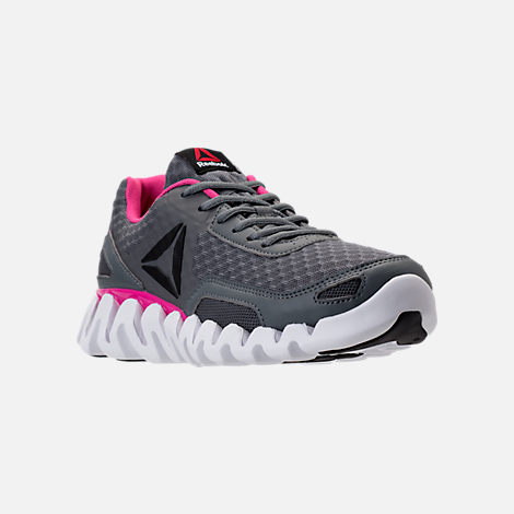 Three Quarter view of Women's Reebok Zig Evolution Running Shoes in Grey/Pink/White