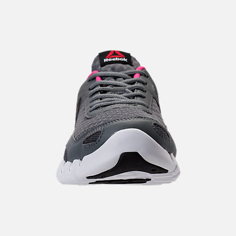 Front view of Women's Reebok Zig Evolution Running Shoes in Grey/Pink/White