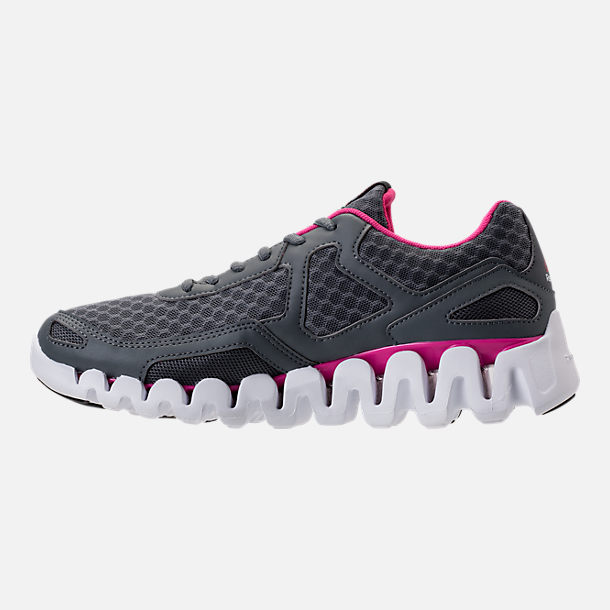 Left view of Women's Reebok Zig Evolution Running Shoes in Grey/Pink/White