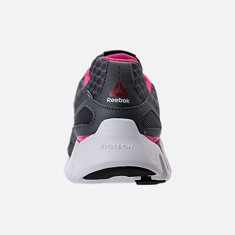 Back view of Women's Reebok Zig Evolution Running Shoes in Grey/Pink/White