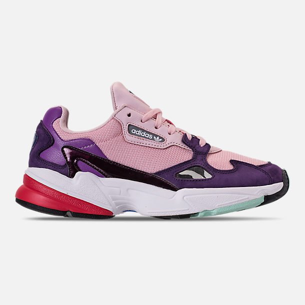 Right view of Women's adidas Originals Falcon Casual Shoes in Clear Pink/Clear Pink/Legend Purple