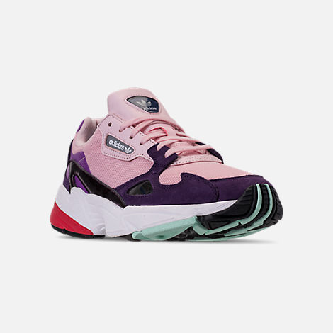 Three Quarter view of Women's adidas Originals Falcon Casual Shoes in Clear Pink/Clear Pink/Legend Purple