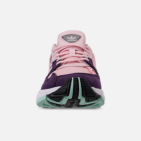 Front view of Women's adidas Originals Falcon Casual Shoes in Clear Pink/Clear Pink/Legend Purple