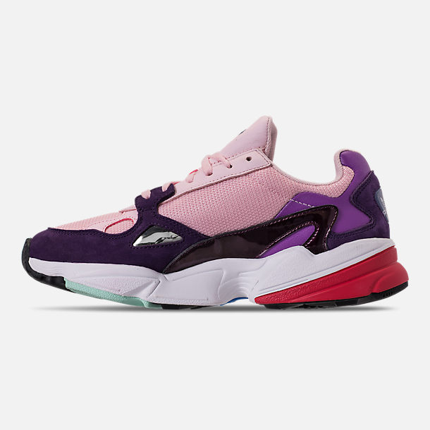 Left view of Women's adidas Originals Falcon Casual Shoes in Clear Pink/Clear Pink/Legend Purple