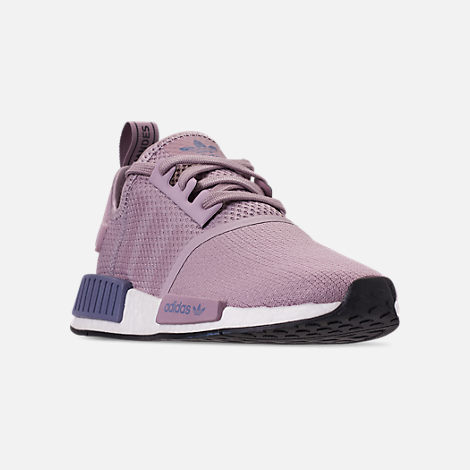 Three Quarter view of Women's adidas NMD R1 Casual Shoes in Soft Vision/Soft Vision/Raw Indigo