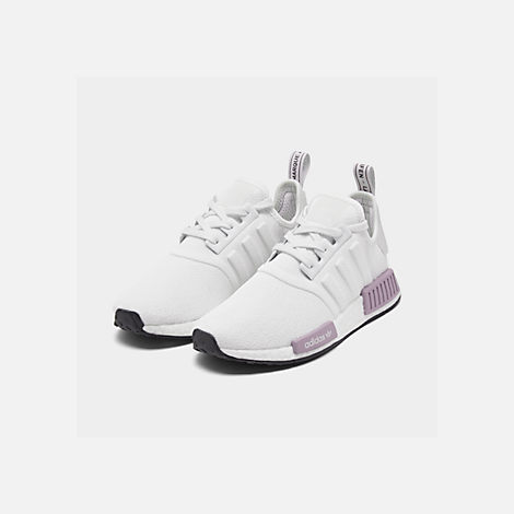 a2b7d57c9 Three Quarter view of Women s adidas NMD R1 Casual Shoes in Crystal  White Crystal White