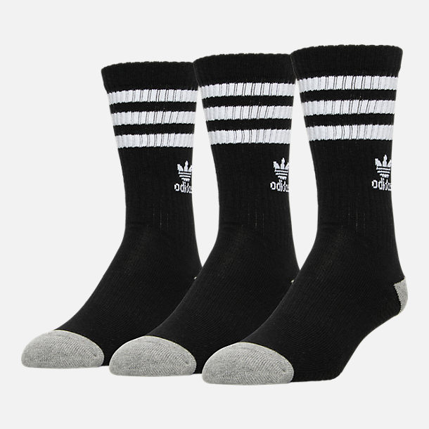 Front view of Men's adidas 3-Pack Roller Crew Socks in Black