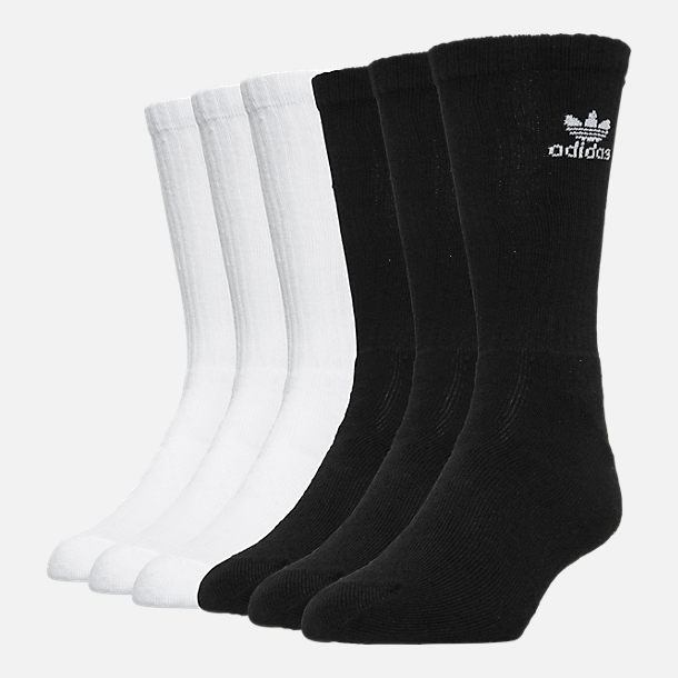 Front view of adidas Trefoil 6-Pack Cushioned Socks in Black/White