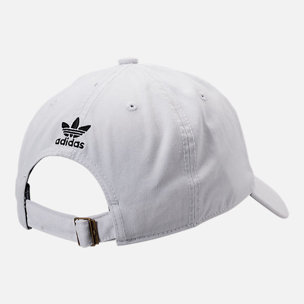 e31131cb095 Back view of adidas Originals Precurved Washed Strapback Hat in White Black
