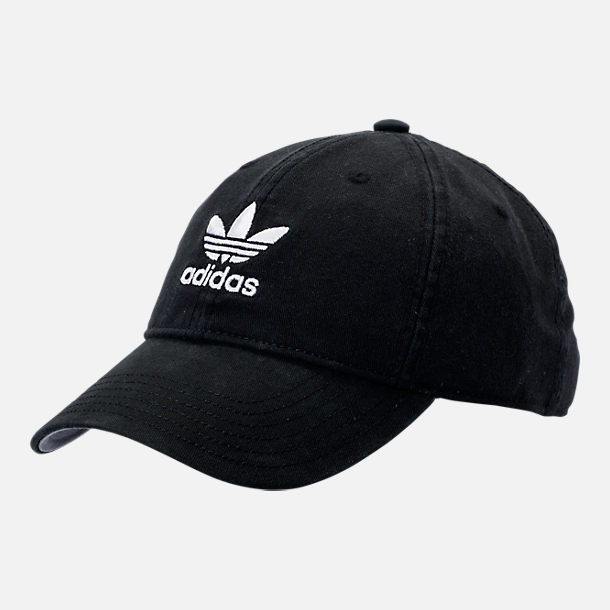 Front view of adidas Originals Precurved Washed Strapback Hat in Black/White
