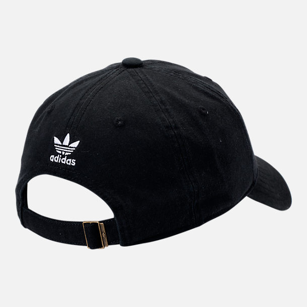 Back view of adidas Originals Precurved Washed Strapback Hat in Black White 9850636ef343