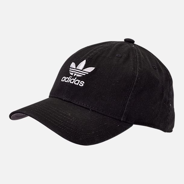 Front view of Women s adidas Originals Precurved Washed Strapback Hat in  Black White d98fdad9d35