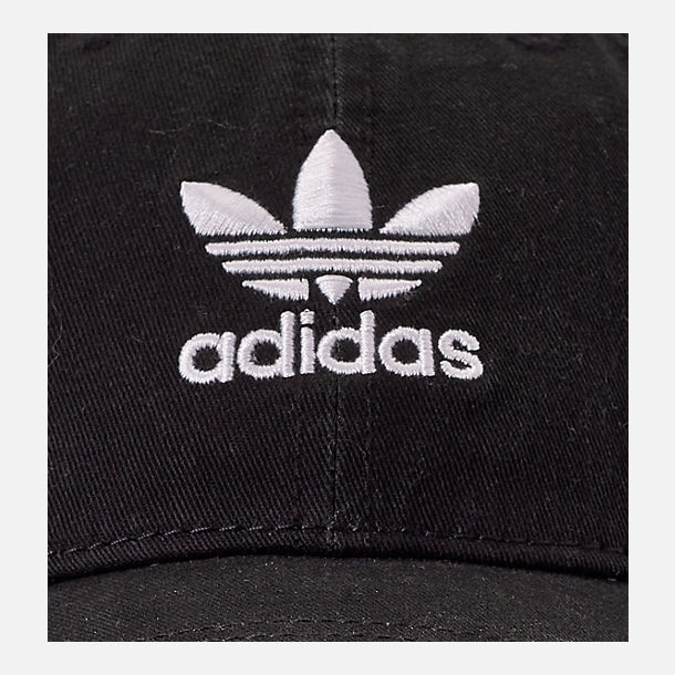 Back view of Women's adidas Originals Precurved Washed Strapback Hat in Black/White