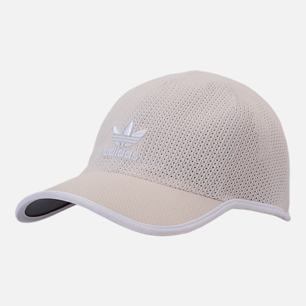 Front view of Men's adidas Originals Primeknit Strapback Hat in Clear Brown/White