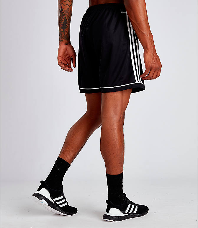 Back Right view of Men's adidas Squadra 17 Soccer Shorts in Black/White