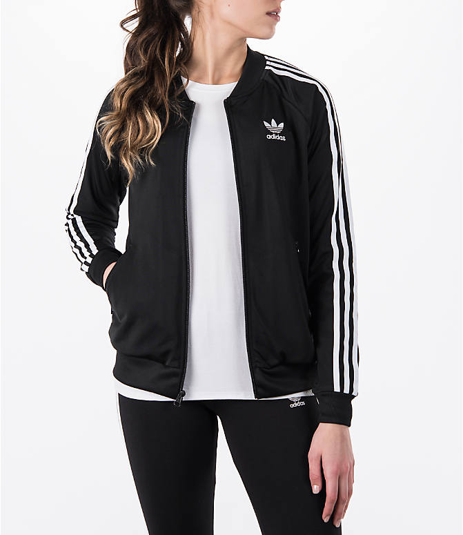 Front view of Women's adidas Originals Superstar Track Jacket in Black