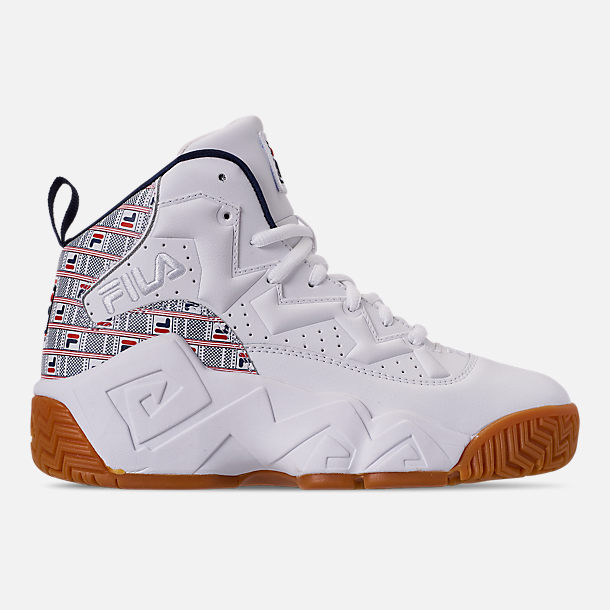 Right view of Boys' Big Kids' Fila MB Basketball Shoes in White/Red/Navy/FILA Print