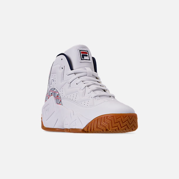 Three Quarter view of Boys' Big Kids' Fila MB Basketball Shoes in White/Red/Navy/FILA Print