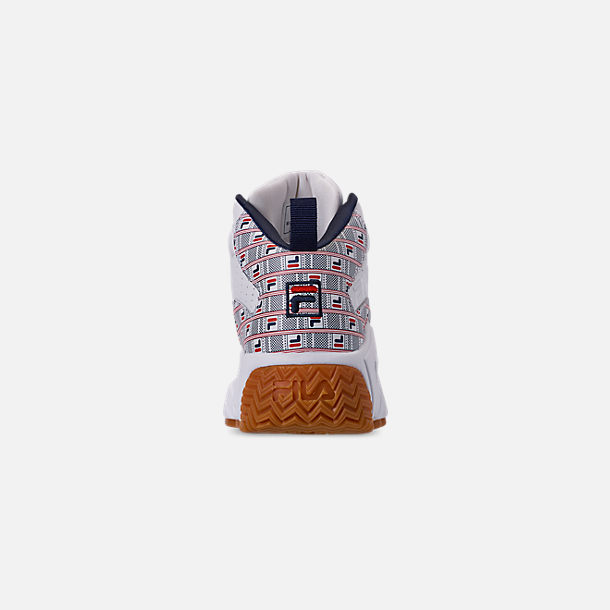 Back view of Boys' Big Kids' Fila MB Basketball Shoes in White/Red/Navy/FILA Print