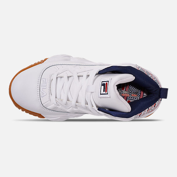 Top view of Boys' Big Kids' Fila MB Basketball Shoes in White/Red/Navy/FILA Print