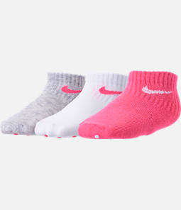 Girls' Infant Nike 3-Pack Quarter Gripper Socks