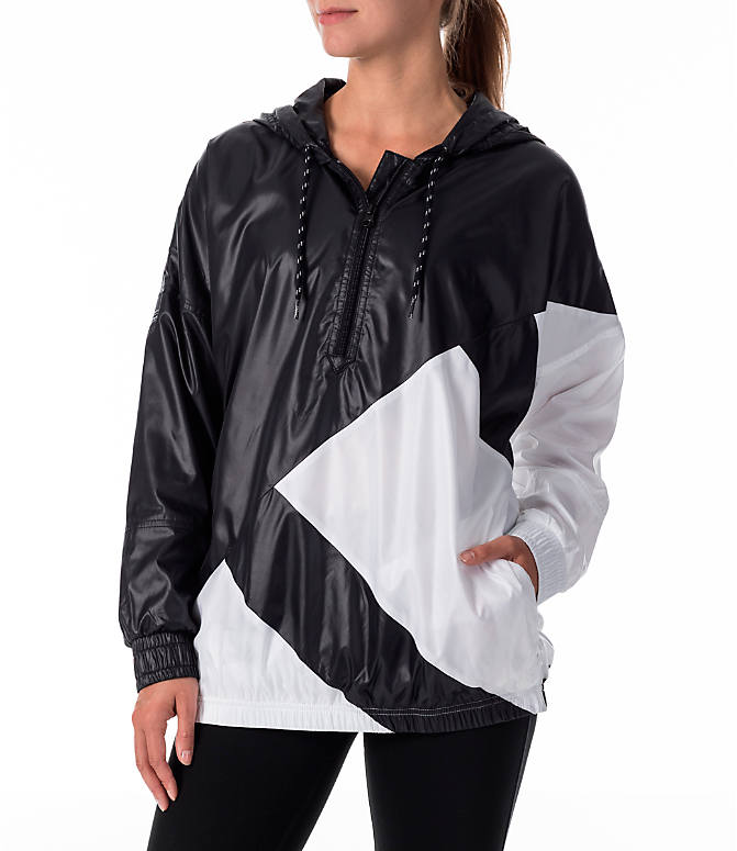 Front view of Women's adidas Originals EQT Blocked Windbreaker in Black/White