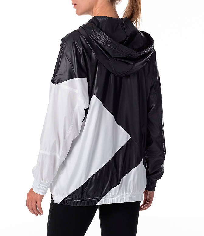 Back Left view of Women's adidas Originals EQT Blocked Windbreaker in Black/White