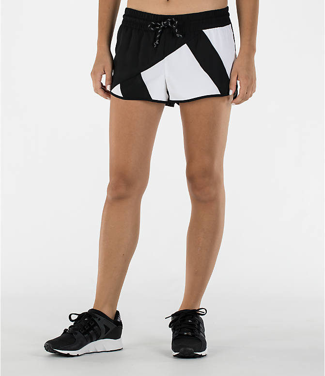 Front view of Women's adidas Originals EQT Shorts in Black/White
